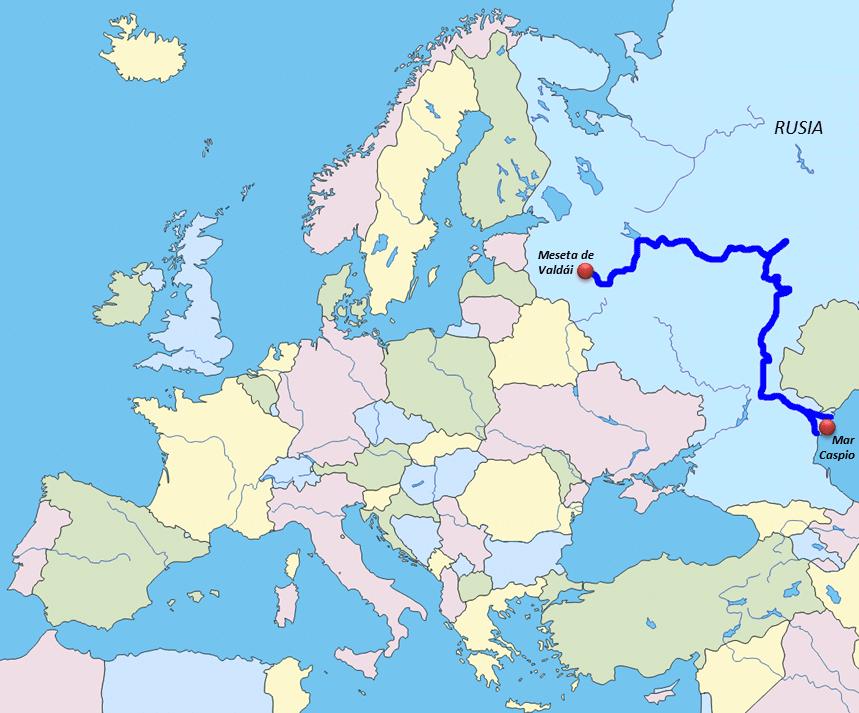 Mapa Físico del Río Volga