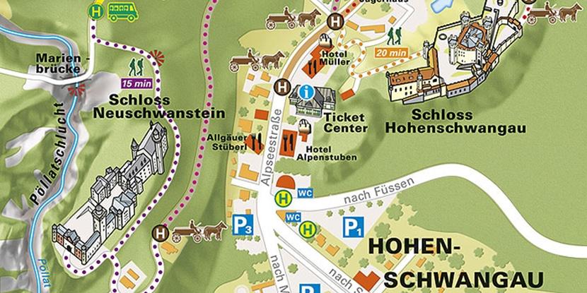 mapa del castillo Neuschwanstein