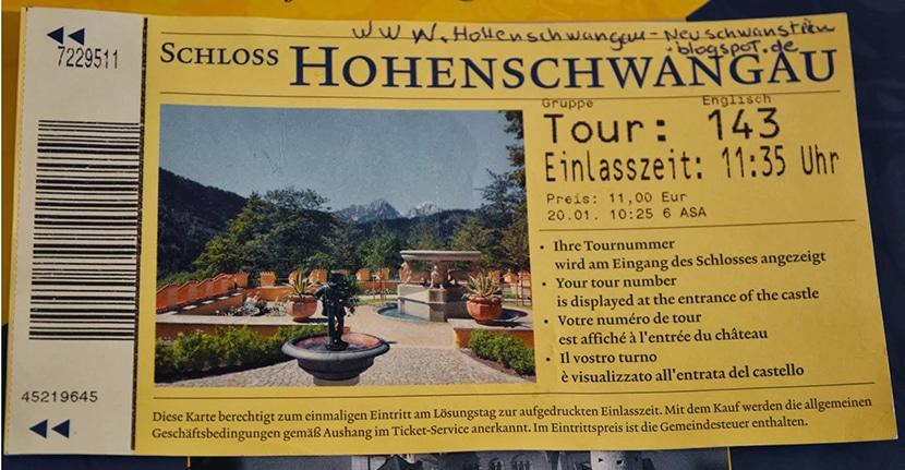 ticket entrada castillo Neuschwanstein