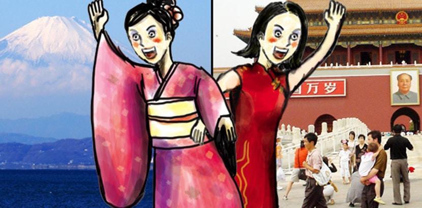 mujer japonesa y mujer china