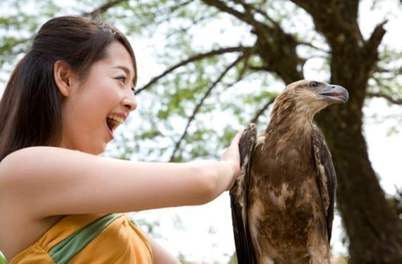 mujer con águila