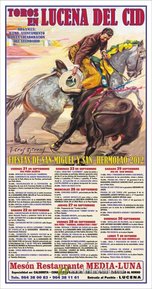Cartel de las fiestas de San Miguel y San Hermolao 2012.