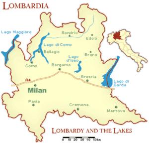 mapa de Lombardía