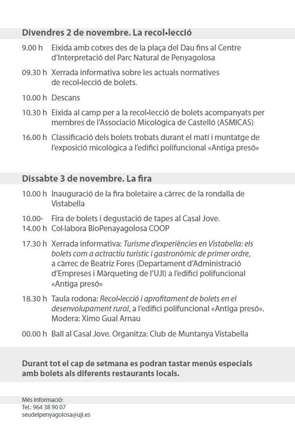 Programa de las 'Jornadas micológicas'