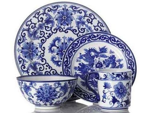 porcelana china blanca y azul