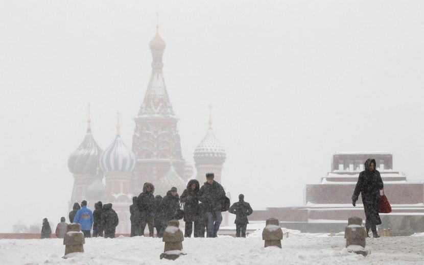 plaza roja de Moscú nevada