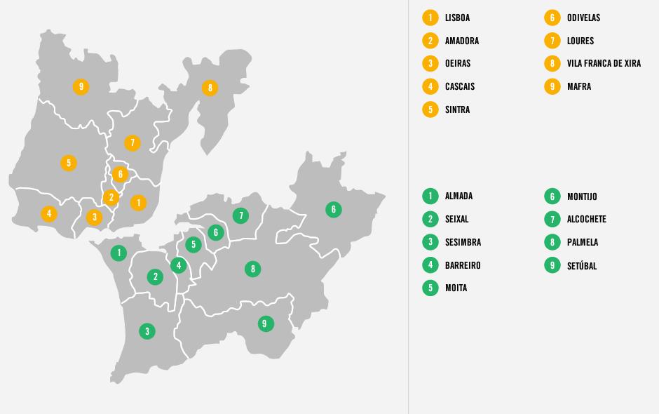 area metropolitana de lisboa mapa Viajes a Lisboa | Absolut Lisboa | Turismo Lisboa area metropolitana de lisboa mapa
