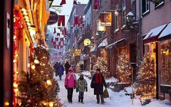 Una de las calles de Québec en diciembre