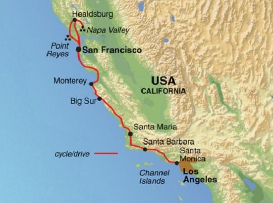 Mapa de la ruta ciclística de San Francisco a Los Angeles