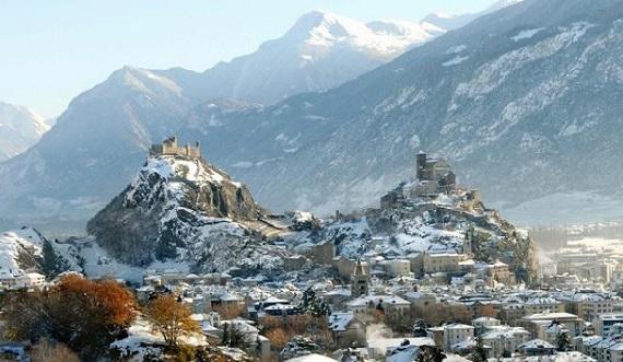 Vista panorámica de Sion en invierno