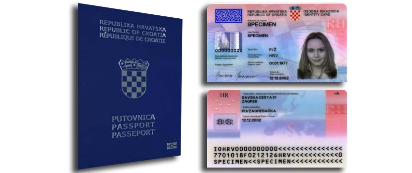 Pasaporte y tarjeta de identificación croata