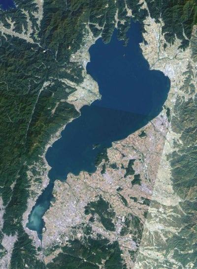 Lago Biwa visto desde el espacio