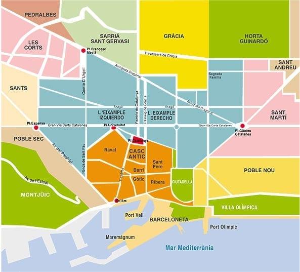 Distritos De Barcelona Mapa.Mapas De Barcelona Todos Los Mapas De Bcn Para Turistas