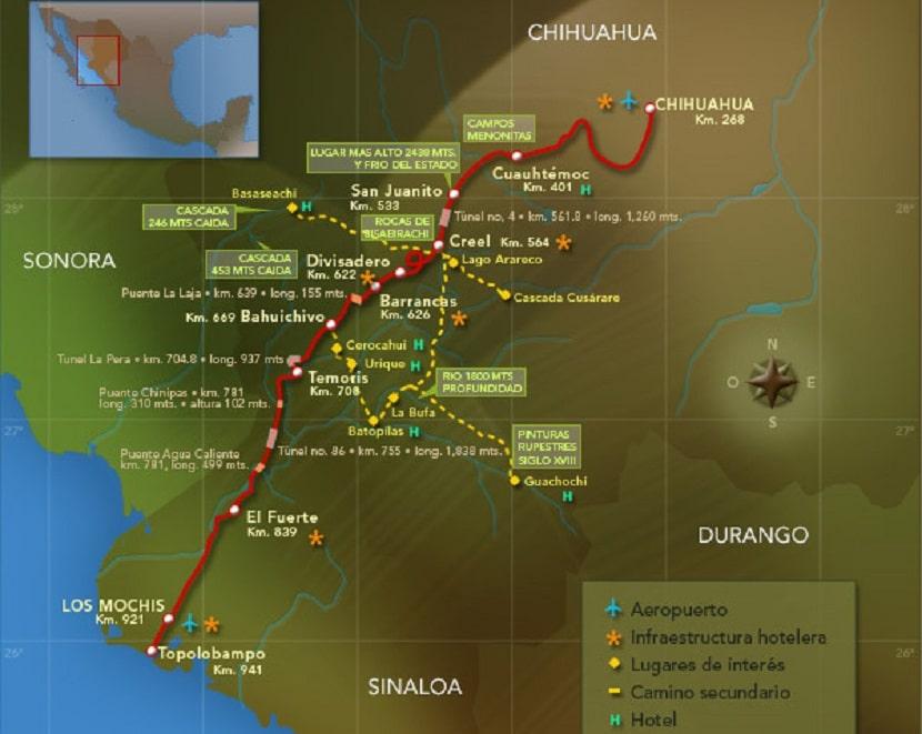Mapa tren chepe