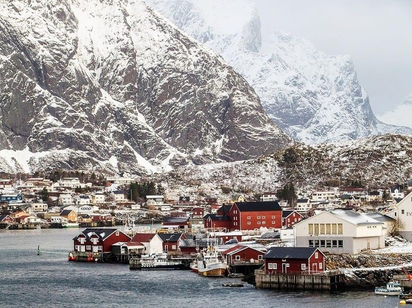Puerto en invierno Islas Lofoten