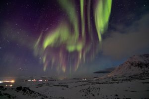 Vista de una aurora boreal