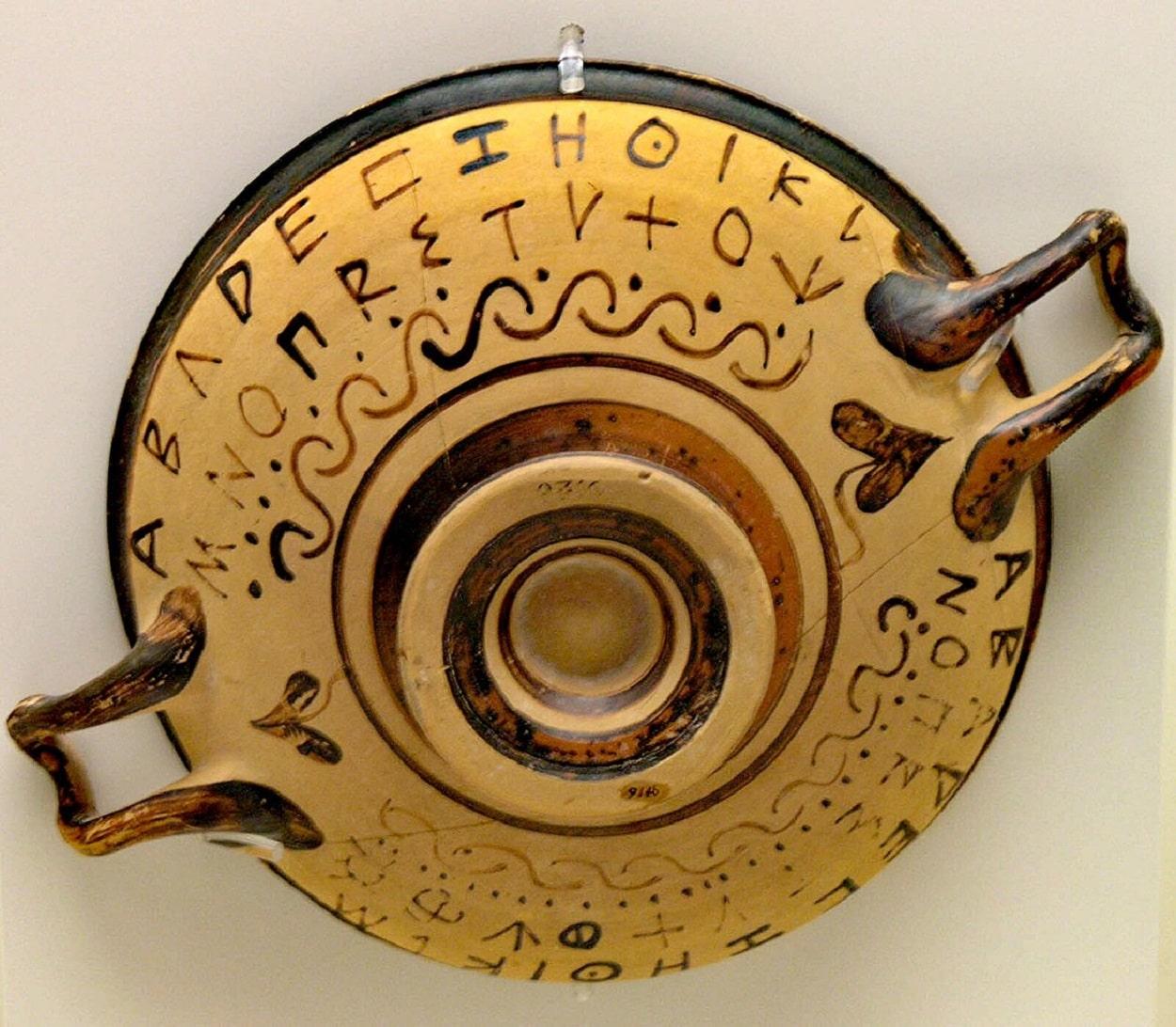 Objeto decorado con el alfabeto griego primitivo