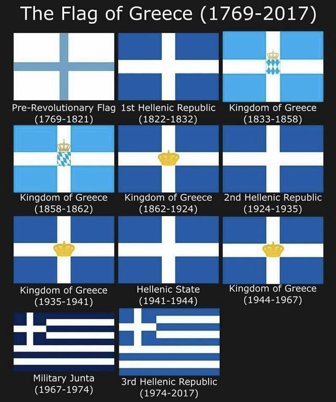 diseños históricos de la bandera griega