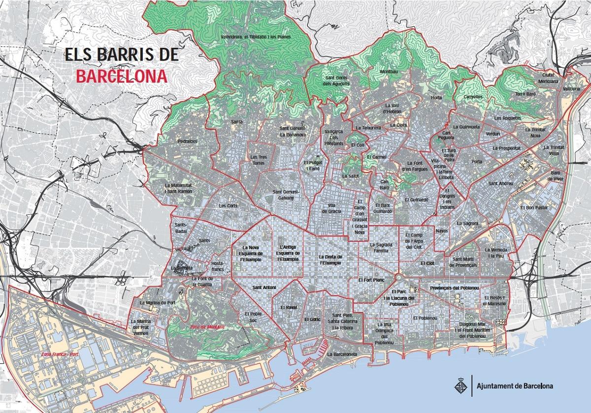 mapa barrios barcelona