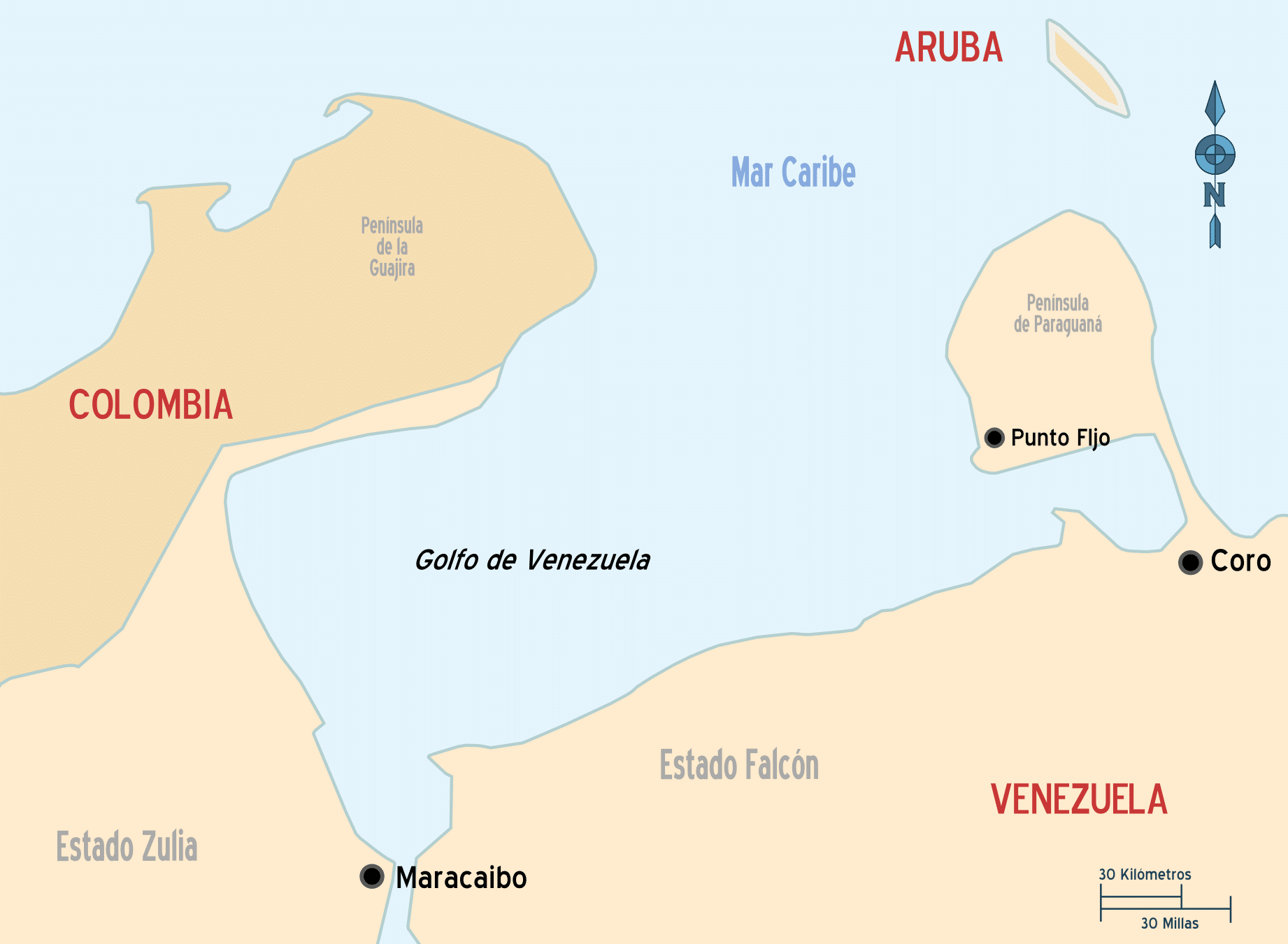 mapa venezuela costas