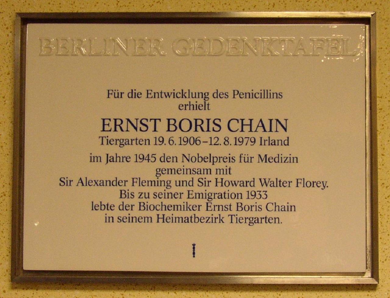 Placa a Ernst B. Chain